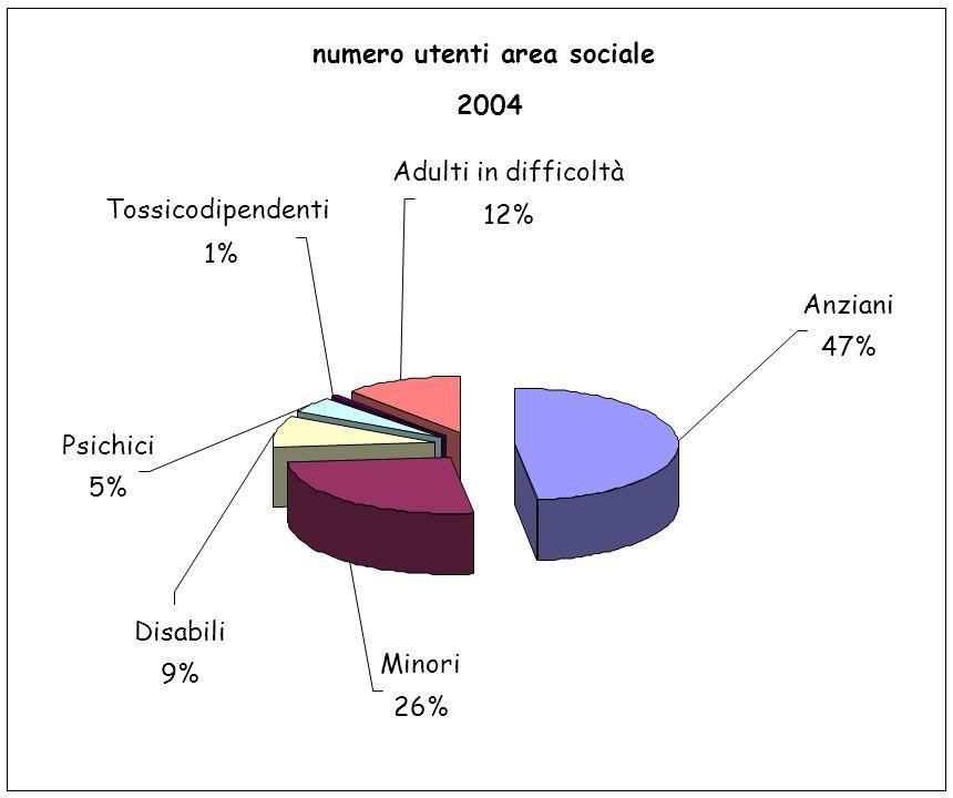 numero utenti area sociale 2004 Minori 26% Disabili 9% Psichici 5% Tossicodipendenti 1% Adulti in difficoltà 12% Anziani 47%