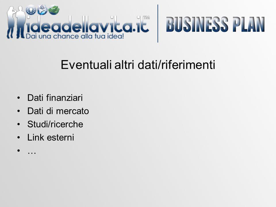 Eventuali altri dati/riferimenti Dati finanziari Dati di mercato Studi/ricerche Link esterni …