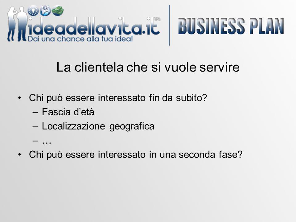 La clientela che si vuole servire Chi può essere interessato fin da subito? –Fascia d'età –Localizzazione geografica –… Chi può essere interessato in
