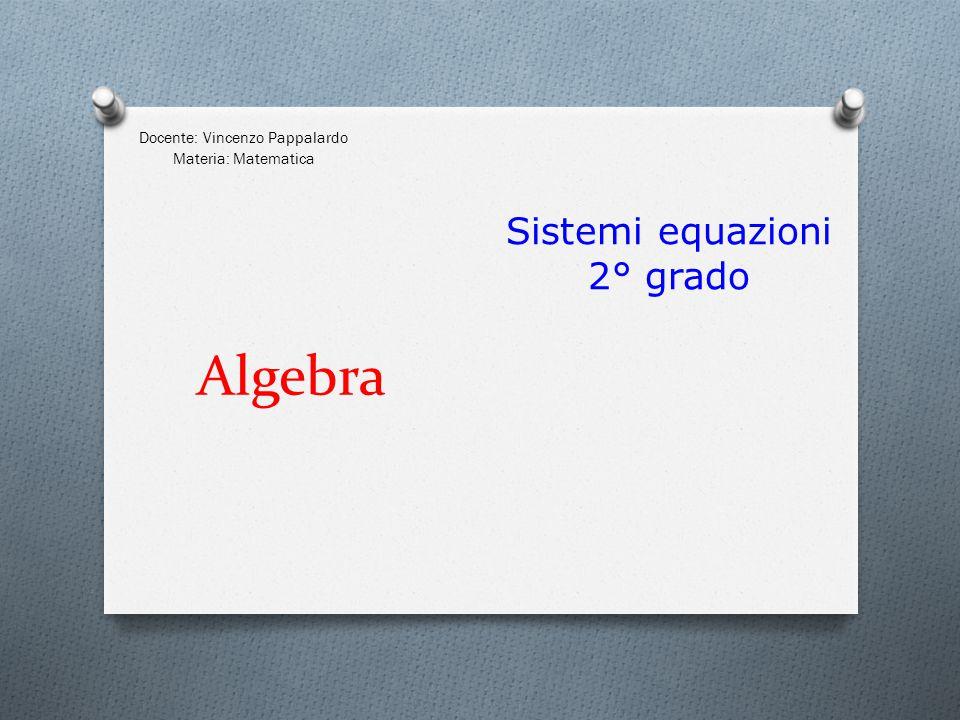 Algebra Docente: Vincenzo Pappalardo Materia: Matematica Sistemi equazioni 2° grado