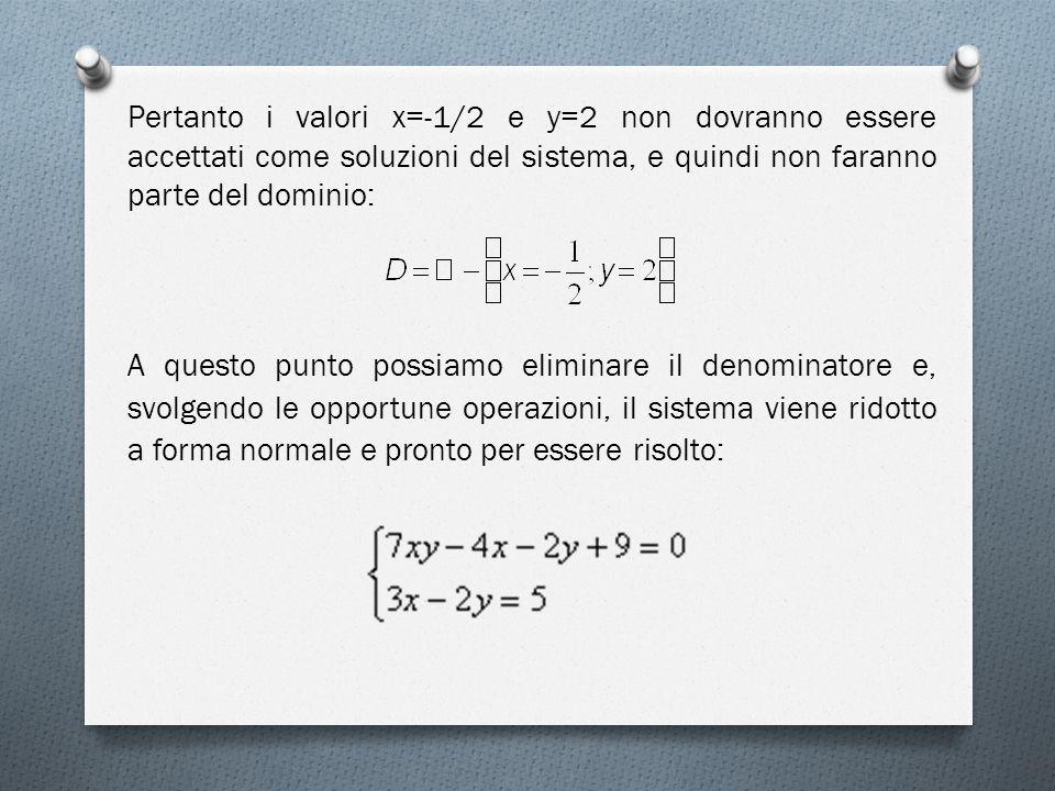Pertanto i valori x=-1/2 e y=2 non dovranno essere accettati come soluzioni del sistema, e quindi non faranno parte del dominio: A questo punto possiamo eliminare il denominatore e, svolgendo le opportune operazioni, il sistema viene ridotto a forma normale e pronto per essere risolto: