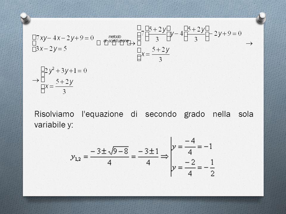 Risolviamo l equazione di secondo grado nella sola variabile y: