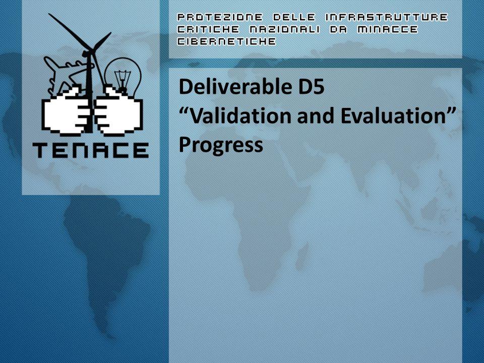 WP5 – Validation and Evaluation Inizio attività: M18 (Settembre 2014) Unità coinvolte: Tutte Coordinatore: UNINA Data rilascio D5a: Febbraio 2015