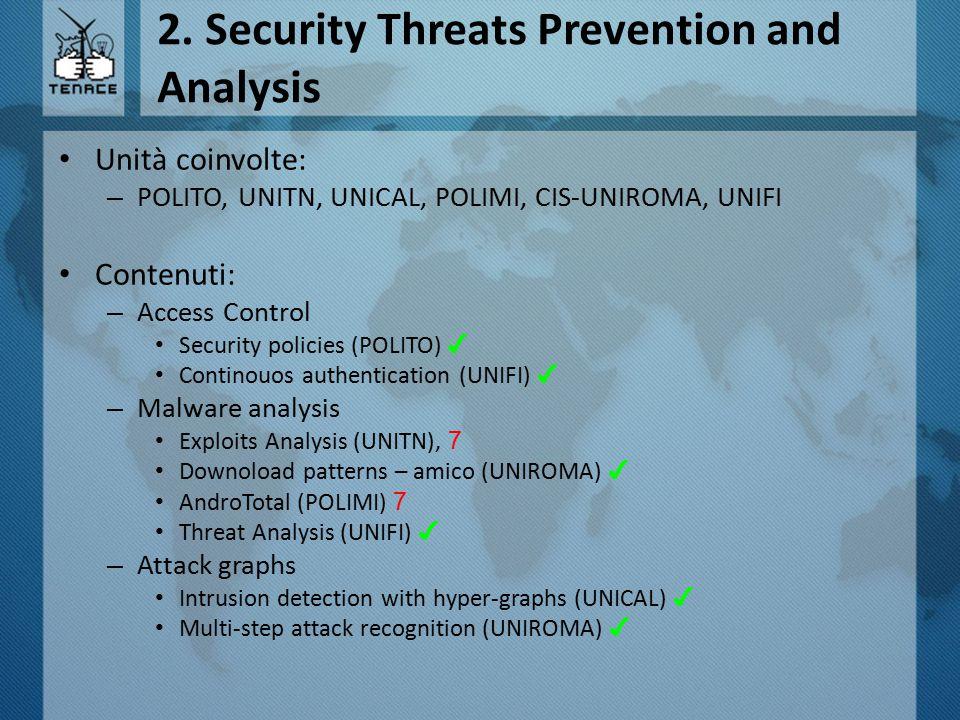 2. Security Threats Prevention and Analysis Unità coinvolte: – POLITO, UNITN, UNICAL, POLIMI, CIS-UNIROMA, UNIFI Contenuti: – Access Control Security