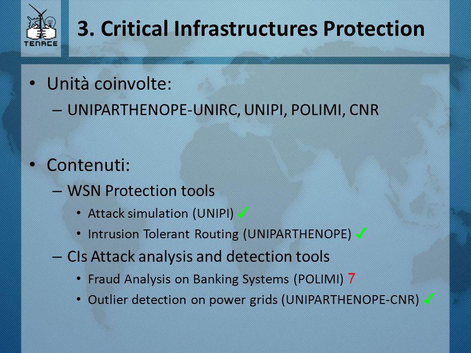 3. Critical Infrastructures Protection Unità coinvolte: – UNIPARTHENOPE-UNIRC, UNIPI, POLIMI, CNR Contenuti: – WSN Protection tools Attack simulation