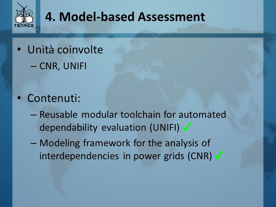 4. Model-based Assessment Unità coinvolte – CNR, UNIFI Contenuti: – Reusable modular toolchain for automated dependability evaluation (UNIFI) ✔ – Mode