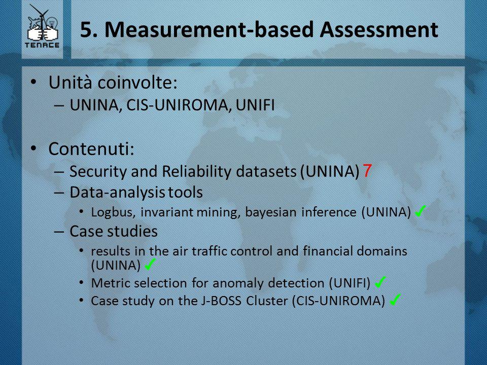 5. Measurement-based Assessment Unità coinvolte: – UNINA, CIS-UNIROMA, UNIFI Contenuti: – Security and Reliability datasets (UNINA) 7 – Data-analysis