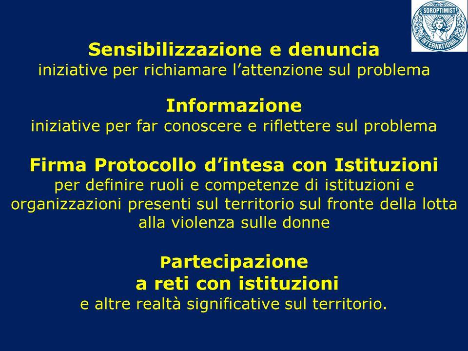 Sensibilizzazione e denuncia iniziative per richiamare l'attenzione sul problema Informazione iniziative per far conoscere e riflettere sul problema F