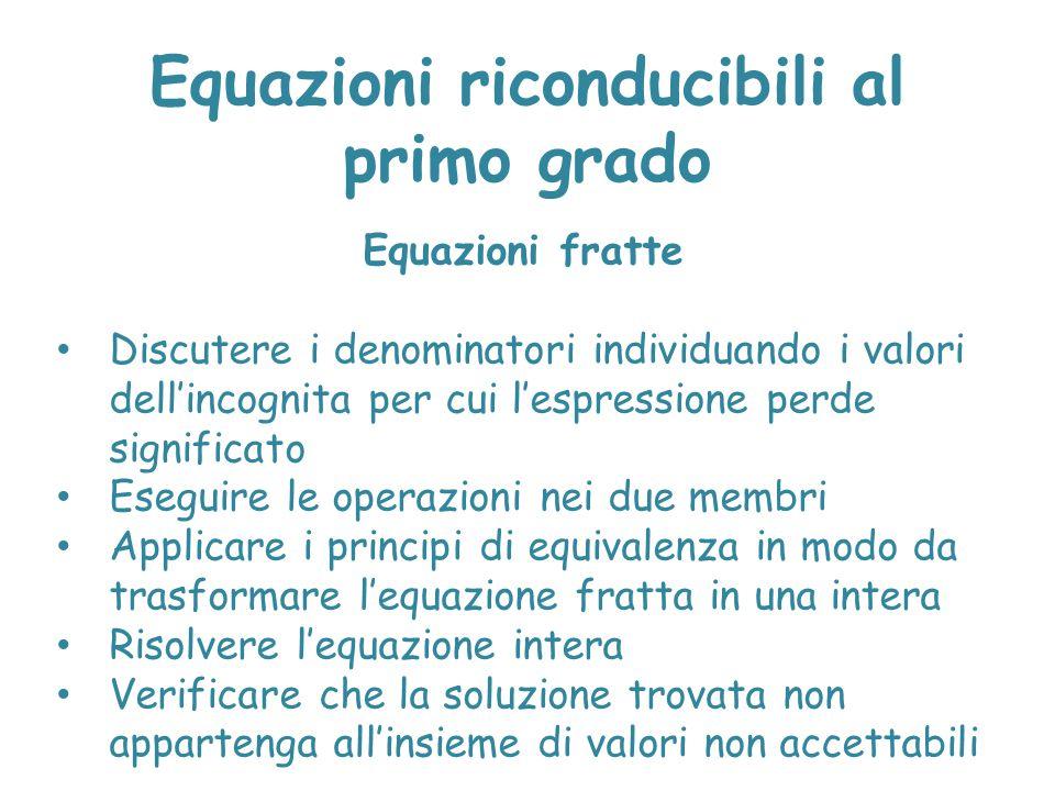 Equazioni riconducibili al primo grado Equazioni fratte Discutere i denominatori individuando i valori dell'incognita per cui l'espressione perde sign