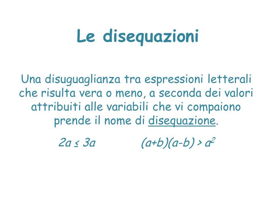 Le disequazioni Una disuguaglianza tra espressioni letterali che risulta vera o meno, a seconda dei valori attribuiti alle variabili che vi compaiono