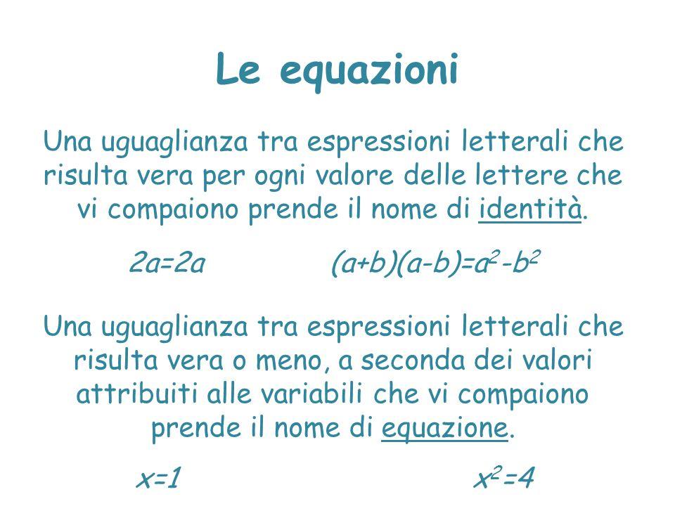 Le equazioni Una uguaglianza tra espressioni letterali che risulta vera per ogni valore delle lettere che vi compaiono prende il nome di identità. 2a=