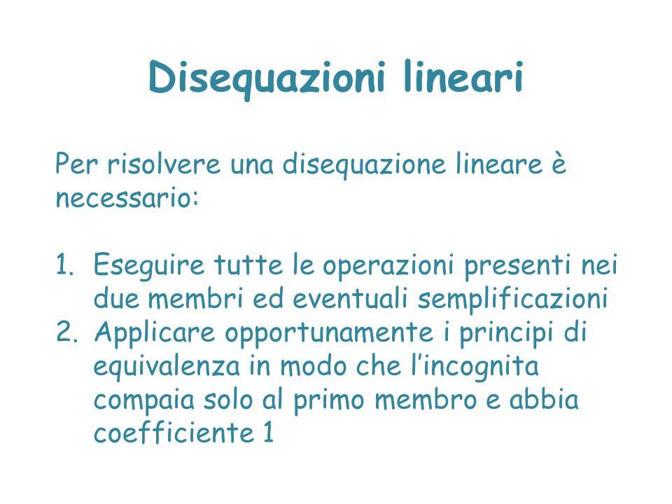 Disequazioni lineari Per risolvere una disequazione lineare è necessario: 1.Eseguire tutte le operazioni presenti nei due membri ed eventuali semplifi