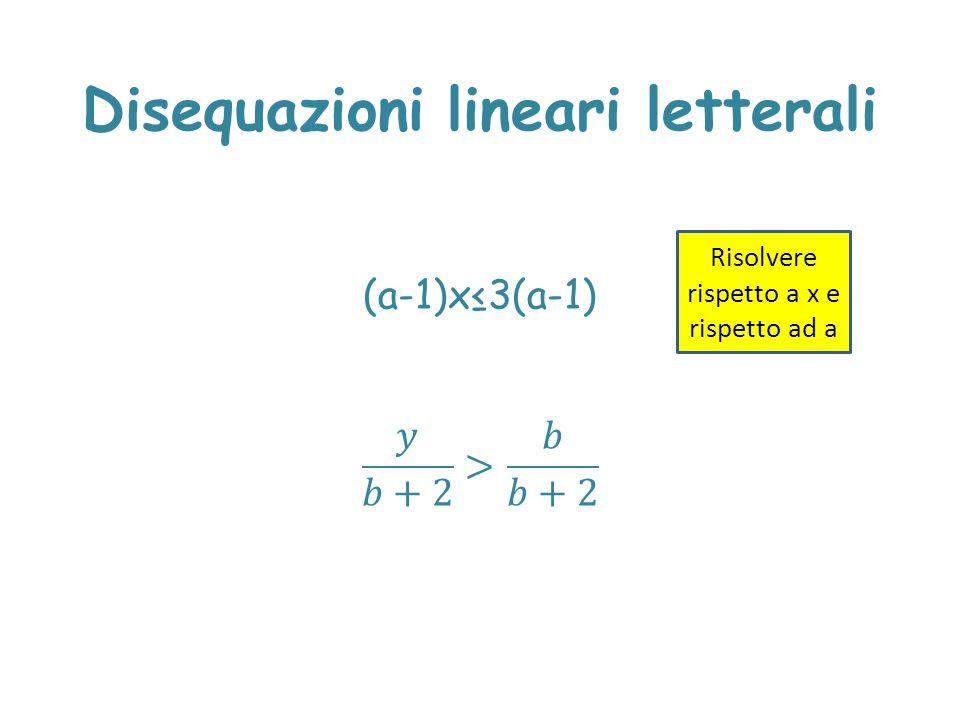 Disequazioni lineari letterali Risolvere rispetto a x e rispetto ad a
