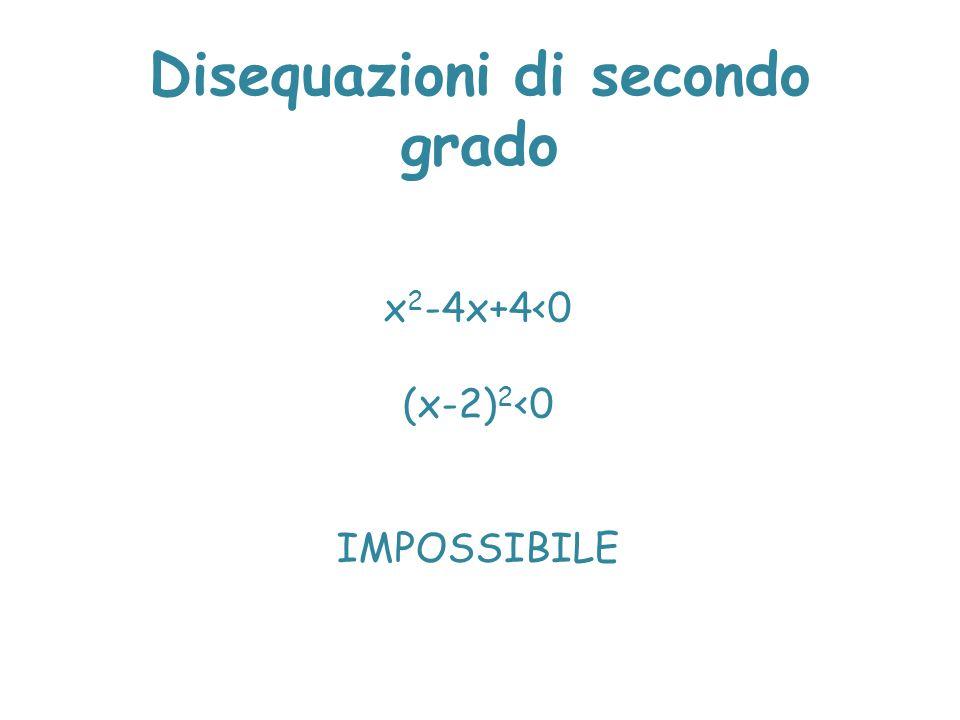 Disequazioni di secondo grado x 2 -4x+4<0 (x-2) 2 <0 IMPOSSIBILE