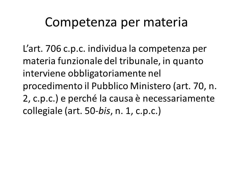 Competenza per materia L'art. 706 c.p.c. individua la competenza per materia funzionale del tribunale, in quanto interviene obbligatoriamente nel proc