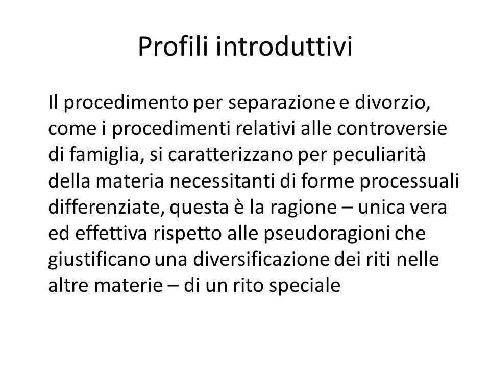 Profili introduttivi Il procedimento per separazione e divorzio, come i procedimenti relativi alle controversie di famiglia, si caratterizzano per pec