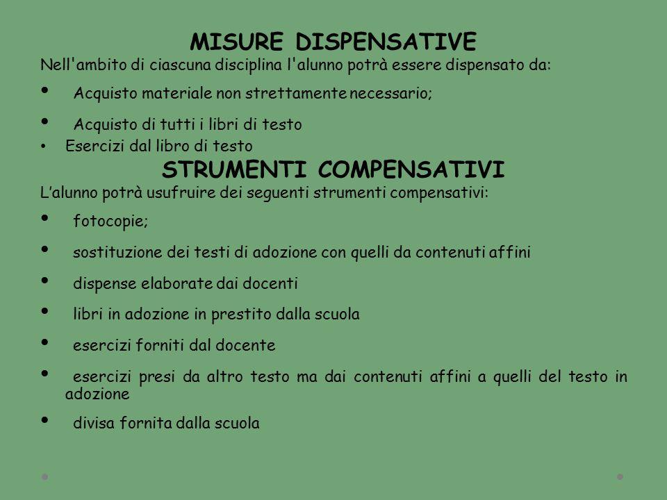 MISURE DISPENSATIVE Nell'ambito di ciascuna disciplina l'alunno potrà essere dispensato da: Acquisto materiale non strettamente necessario; Acquisto d