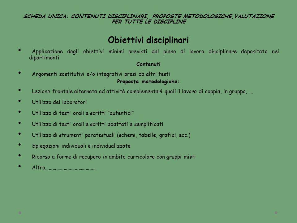 SCHEDA UNICA: CONTENUTI DISCIPLINARI, PROPOSTE METODOLOGICHE,VALUTAZIONE PER TUTTE LE DISCIPLINE Obiettivi disciplinari Applicazione degli obiettivi m