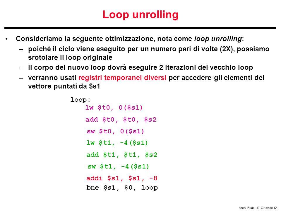 Arch. Elab. - S. Orlando 12 Loop unrolling Consideriamo la seguente ottimizzazione, nota come loop unrolling: –poiché il ciclo viene eseguito per un n