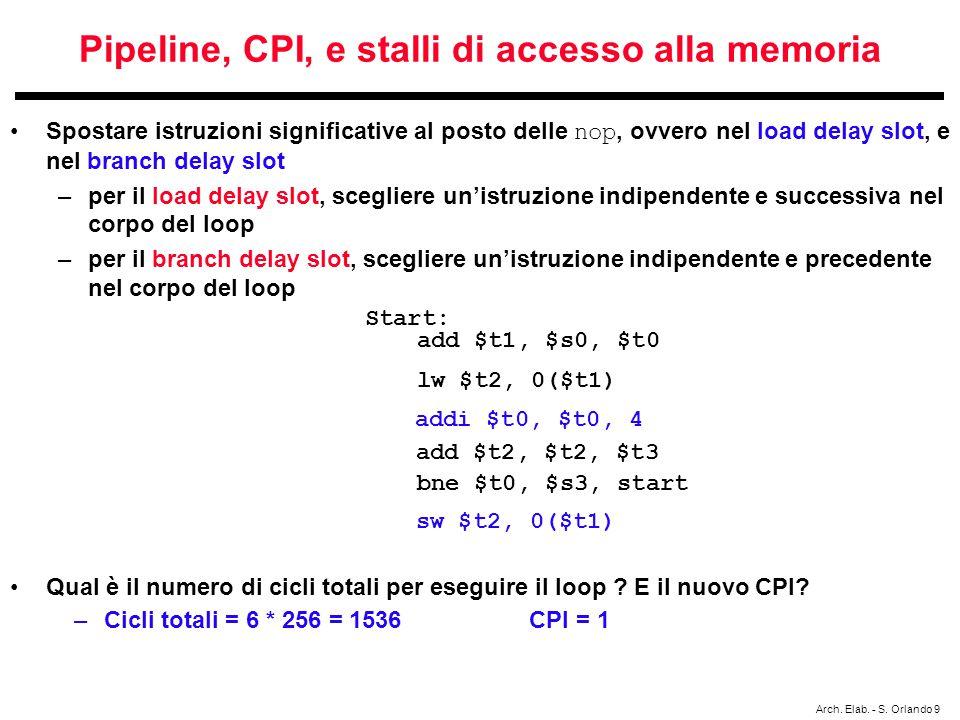 Arch. Elab. - S. Orlando 9 Pipeline, CPI, e stalli di accesso alla memoria Spostare istruzioni significative al posto delle nop, ovvero nel load delay
