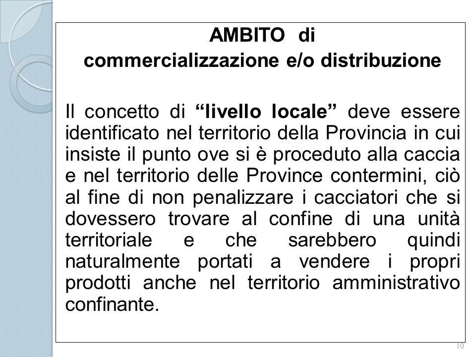 """AMBITO di commercializzazione e/o distribuzione Il concetto di """"livello locale"""" deve essere identificato nel territorio della Provincia in cui insiste"""