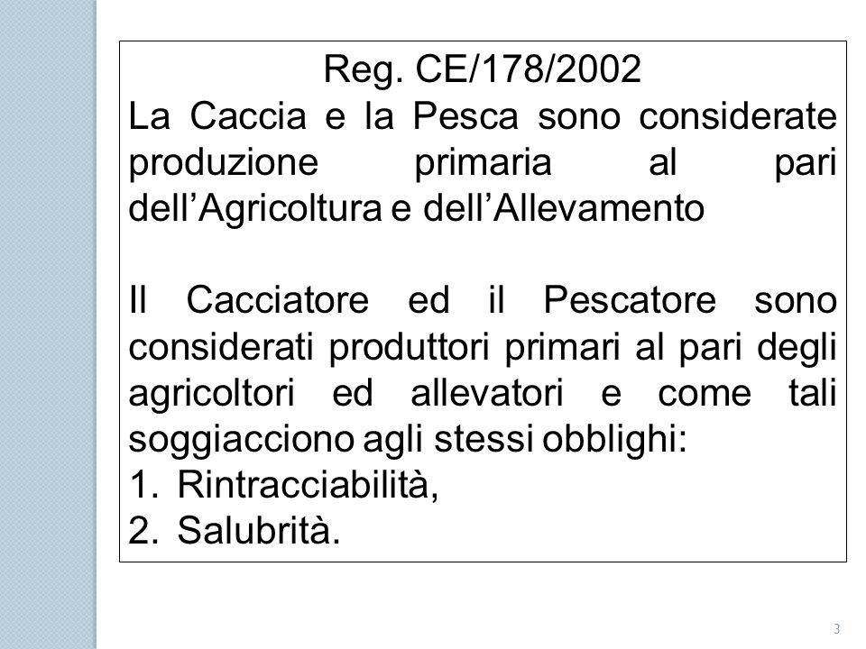 3 Reg. CE/178/2002 La Caccia e la Pesca sono considerate produzione primaria al pari dell'Agricoltura e dell'Allevamento Il Cacciatore ed il Pescatore