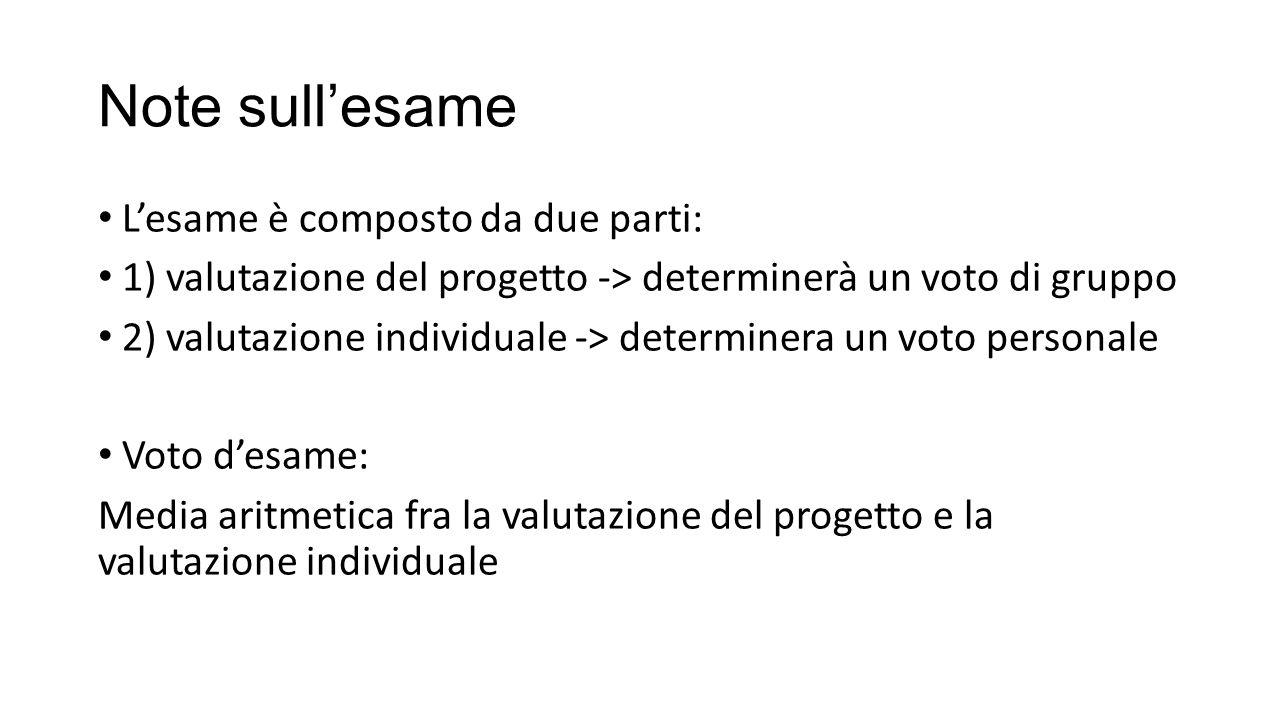 Note sull'esame L'esame è composto da due parti: 1) valutazione del progetto -> determinerà un voto di gruppo 2) valutazione individuale -> determinera un voto personale Voto d'esame: Media aritmetica fra la valutazione del progetto e la valutazione individuale
