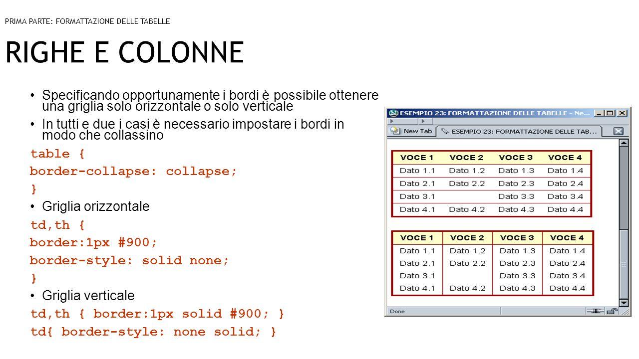 RIGHE E COLONNE Specificando opportunamente i bordi è possibile ottenere una griglia solo orizzontale o solo verticale In tutti e due i casi è necessario impostare i bordi in modo che collassino table { border-collapse: collapse; } Griglia orizzontale td,th { border:1px #900; border-style: solid none; } Griglia verticale td,th { border:1px solid #900; } td{ border-style: none solid; } PRIMA PARTE: FORMATTAZIONE DELLE TABELLE