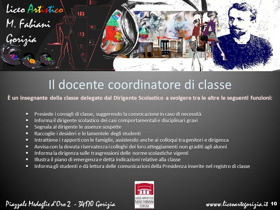 Liceo Artistico M. Fabiani Gorizia Piazzale Medaglie d'Oro 2 - 34170 Gorizia wwww.liceoartegorizia.it Il docente coordinatore di classe  Presiede i c