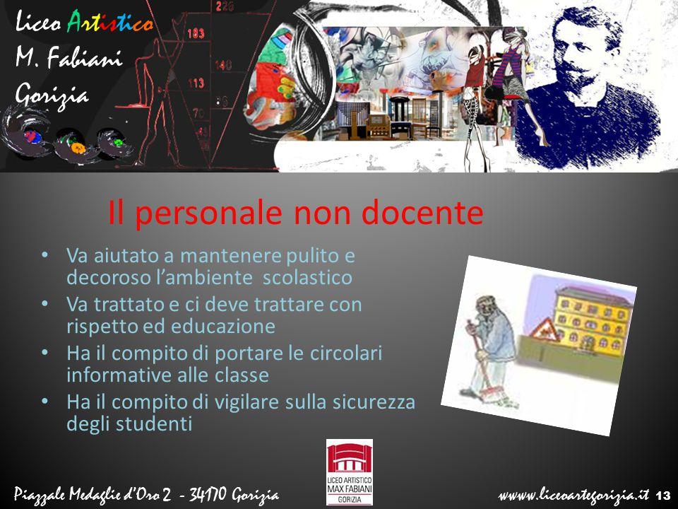 Liceo Artistico M. Fabiani Gorizia Piazzale Medaglie d'Oro 2 - 34170 Gorizia wwww.liceoartegorizia.it Il personale non docente Va aiutato a mantenere