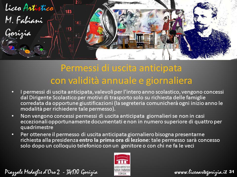 Liceo Artistico M. Fabiani Gorizia Piazzale Medaglie d'Oro 2 - 34170 Gorizia wwww.liceoartegorizia.it Permessi di uscita anticipata con validità annua