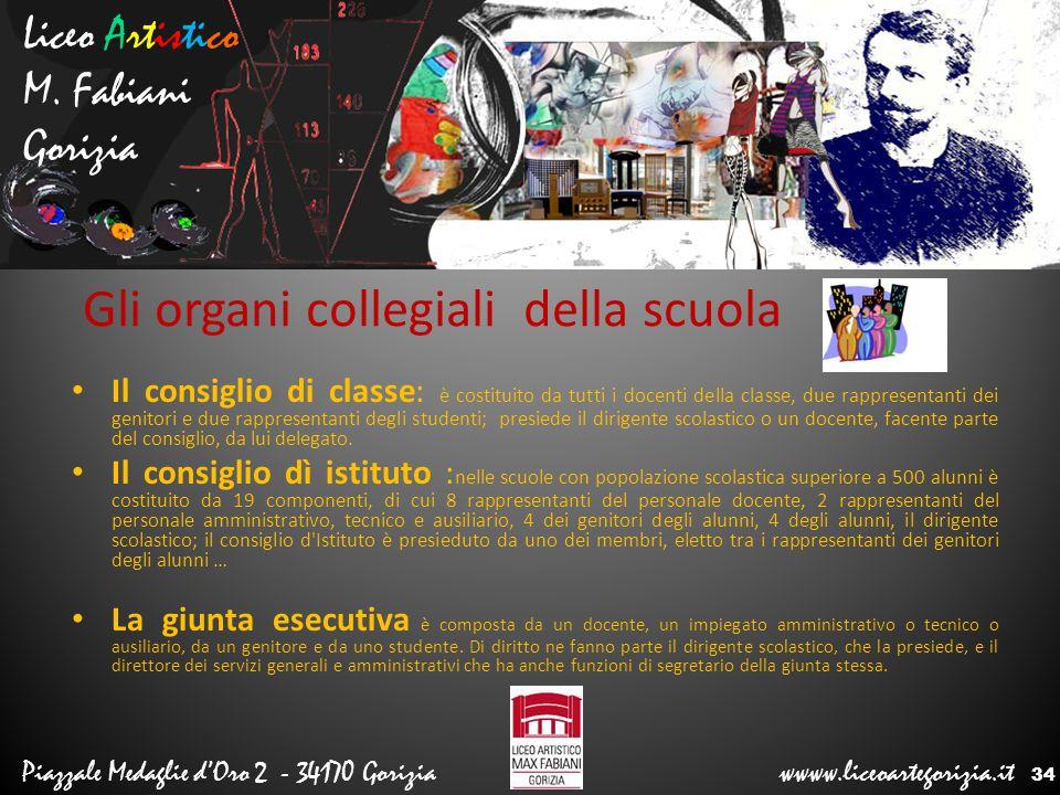 Liceo Artistico M. Fabiani Gorizia Piazzale Medaglie d'Oro 2 - 34170 Gorizia wwww.liceoartegorizia.it Gli organi collegiali della scuola Il consiglio