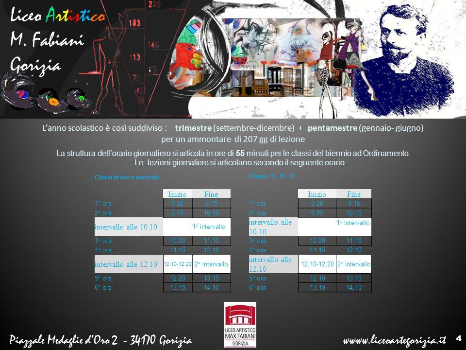 Liceo Artistico M. Fabiani Gorizia Piazzale Medaglie d'Oro 2 - 34170 Gorizia wwww.liceoartegorizia.it L'anno scolastico è così suddiviso : trimestre (