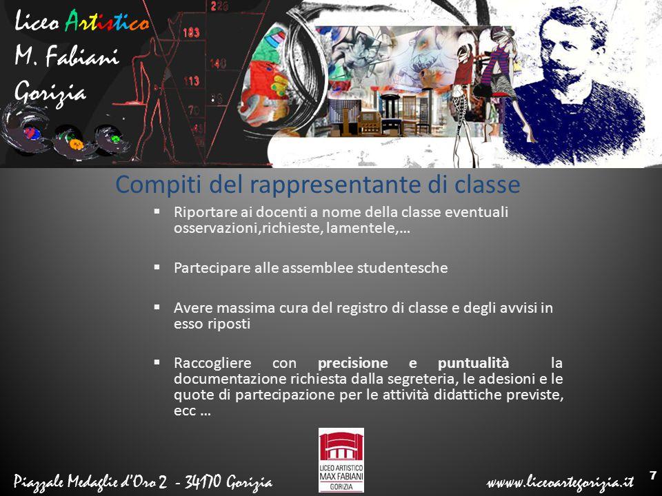 Liceo Artistico M. Fabiani Gorizia Piazzale Medaglie d'Oro 2 - 34170 Gorizia wwww.liceoartegorizia.it Compiti del rappresentante di classe  Riportare