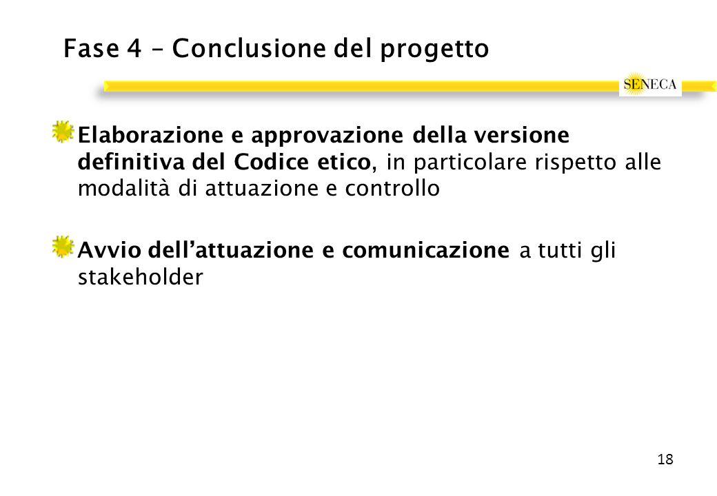 Fase 4 – Conclusione del progetto Elaborazione e approvazione della versione definitiva del Codice etico, in particolare rispetto alle modalità di attuazione e controllo Avvio dell'attuazione e comunicazione a tutti gli stakeholder 18
