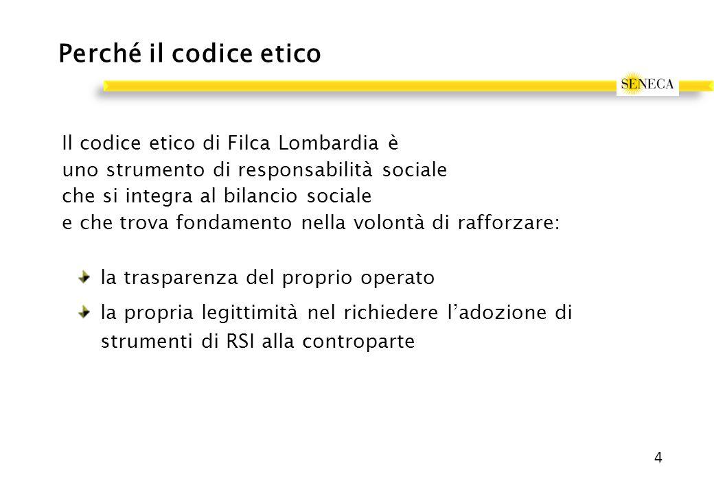 Perché il codice etico Il codice etico di Filca Lombardia è uno strumento di responsabilità sociale che si integra al bilancio sociale e che trova fondamento nella volontà di rafforzare: la trasparenza del proprio operato la propria legittimità nel richiedere l'adozione di strumenti di RSI alla controparte 4