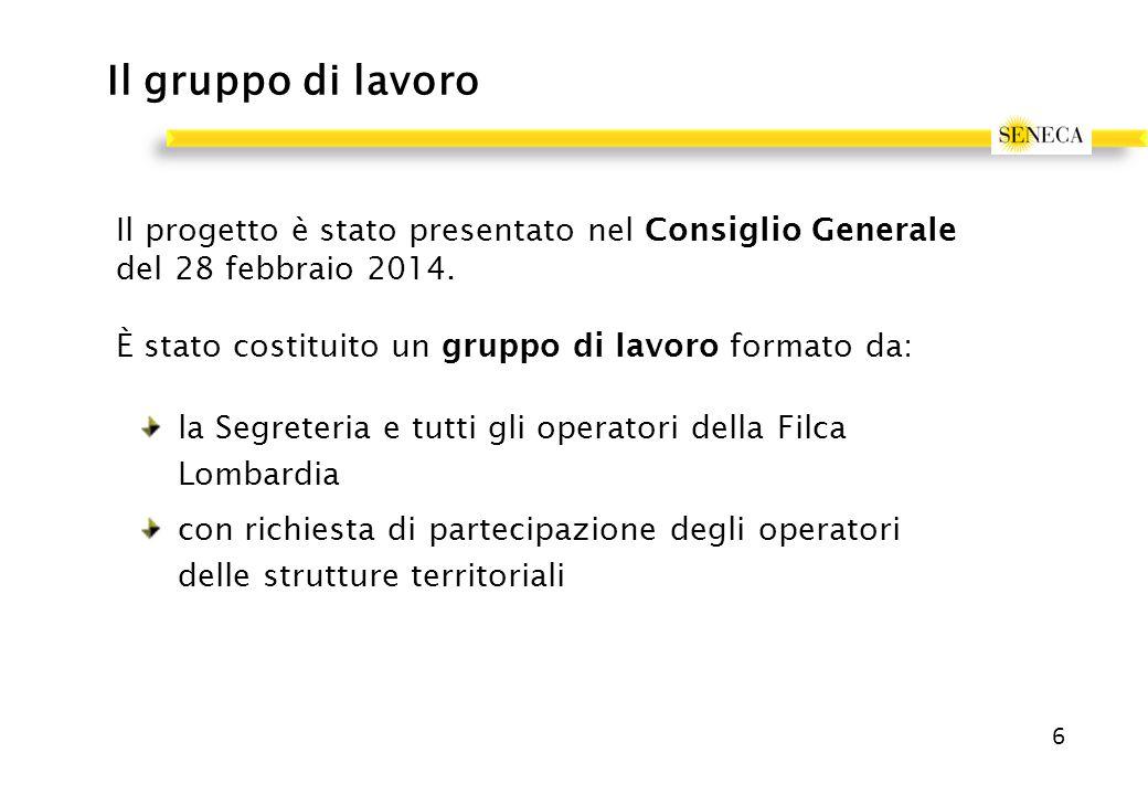 Il gruppo di lavoro Il progetto è stato presentato nel Consiglio Generale del 28 febbraio 2014.