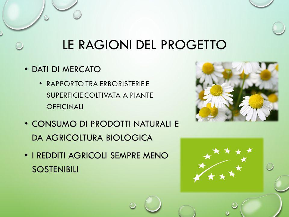 LE RAGIONI DEL PROGETTO DATI DI MERCATO RAPPORTO TRA ERBORISTERIE E SUPERFICIE COLTIVATA A PIANTE OFFICINALI CONSUMO DI PRODOTTI NATURALI E DA AGRICOLTURA BIOLOGICA I REDDITI AGRICOLI SEMPRE MENO SOSTENIBILI