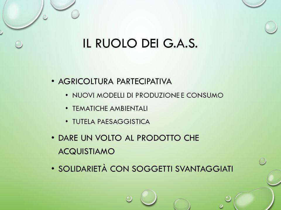 IL RUOLO DEI G.A.S. AGRICOLTURA PARTECIPATIVA NUOVI MODELLI DI PRODUZIONE E CONSUMO TEMATICHE AMBIENTALI TUTELA PAESAGGISTICA DARE UN VOLTO AL PRODOTT