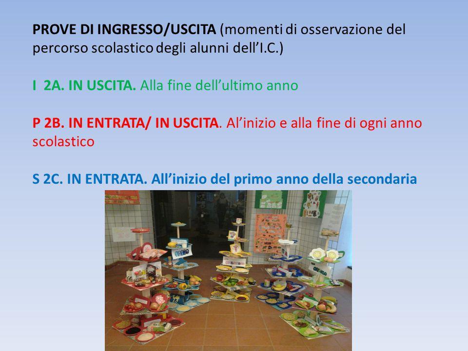 PROVE DI INGRESSO/USCITA (momenti di osservazione del percorso scolastico degli alunni dell'I.C.) I 2A. IN USCITA. Alla fine dell'ultimo anno P 2B. IN