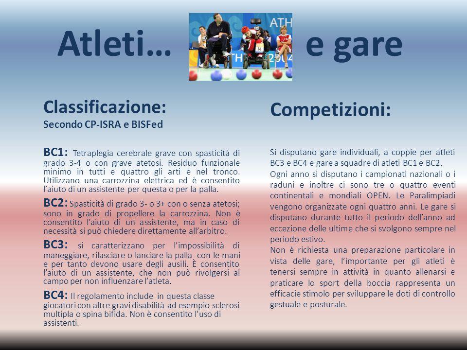 Atleti… e gare Classificazione: Secondo CP-ISRA e BISFed BC1: Tetraplegia cerebrale grave con spasticità di grado 3-4 o con grave atetosi. Residuo fun