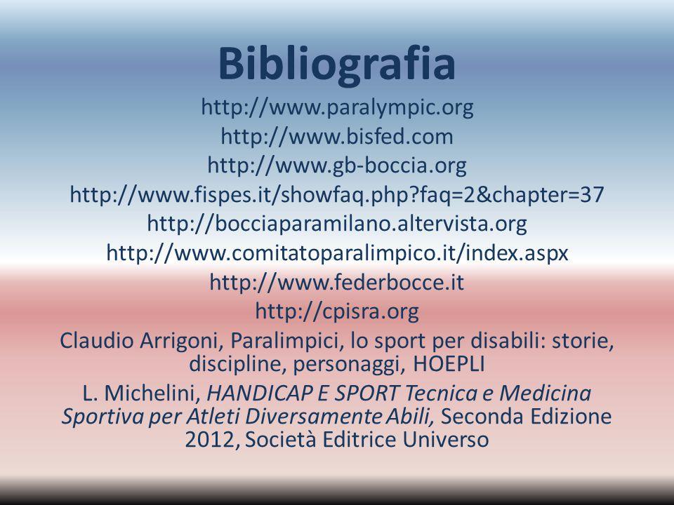 Bibliografia http://www.paralympic.org http://www.bisfed.com http://www.gb-boccia.org http://www.fispes.it/showfaq.php?faq=2&chapter=37 http://bocciap