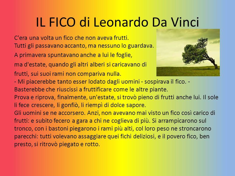 IL FICO di Leonardo Da Vinci C'era una volta un fico che non aveva frutti. Tutti gli passavano accanto, ma nessuno lo guardava. A primavera spuntavano