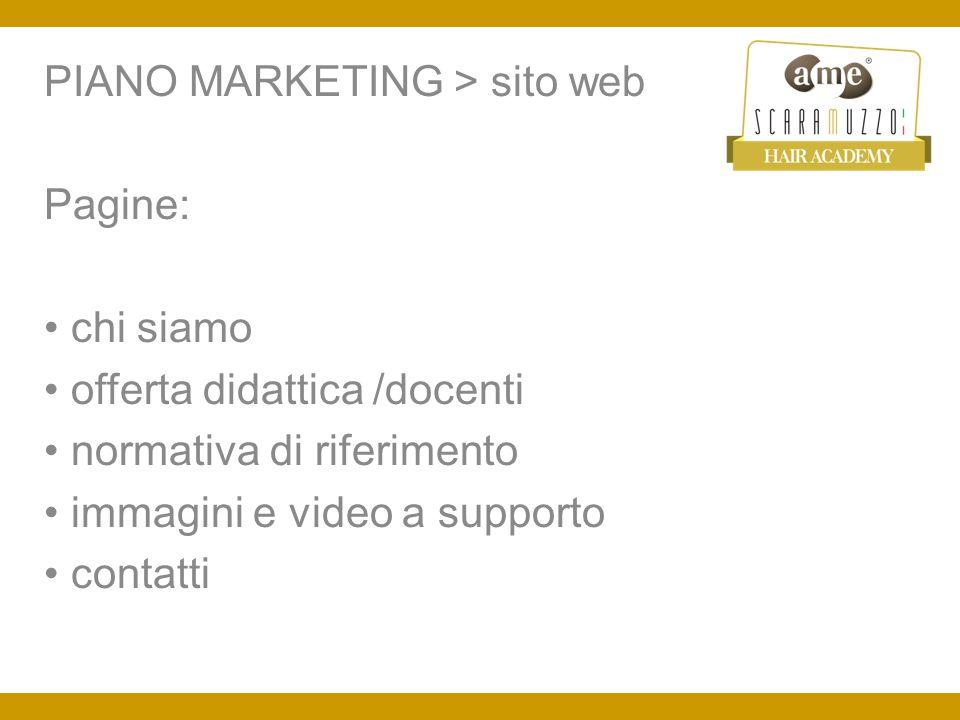 PIANO MARKETING > social network Creare ad hoc: Pagina Facebook (con inserzioni a pagamento) Pagina Twitter Pagina YouTube