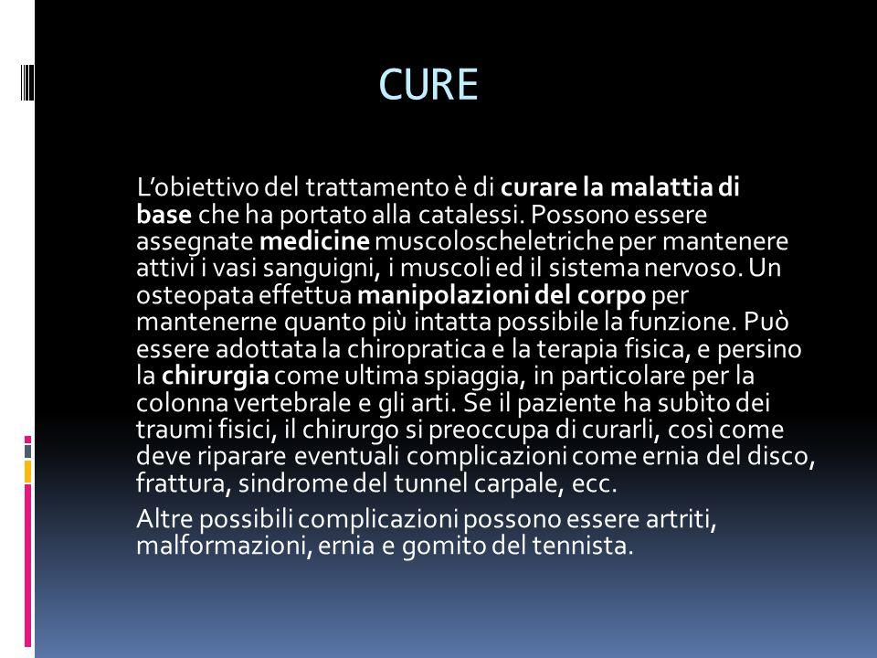 CURE L'obiettivo del trattamento è di curare la malattia di base che ha portato alla catalessi.