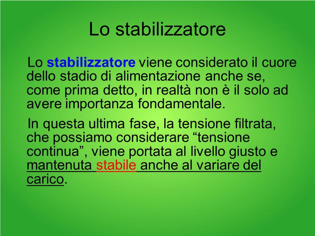 Lo stabilizzatore Lo stabilizzatore viene considerato il cuore dello stadio di alimentazione anche se, come prima detto, in realtà non è il solo ad avere importanza fondamentale.
