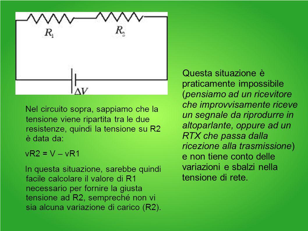 Nel circuito sopra, sappiamo che la tensione viene ripartita tra le due resistenze, quindi la tensione su R2 è data da: vR2 = V – vR1 In questa situazione, sarebbe quindi facile calcolare il valore di R1 necessario per fornire la giusta tensione ad R2, sempreché non vi sia alcuna variazione di carico (R2).