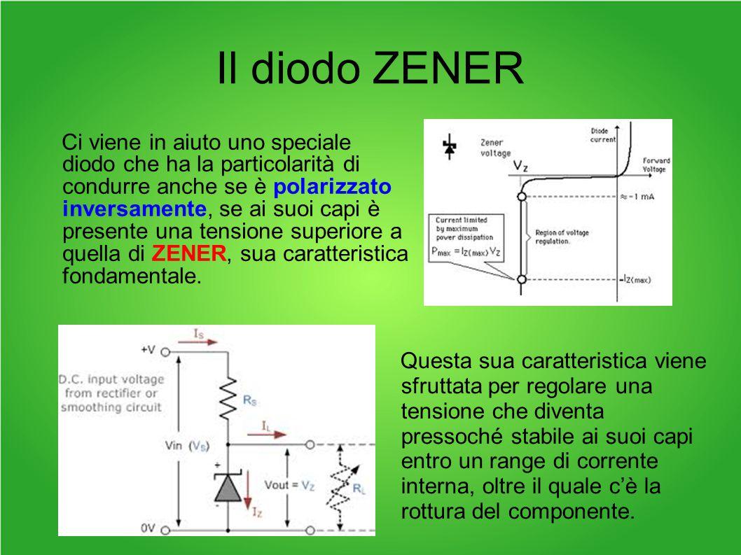 Il diodo ZENER Ci viene in aiuto uno speciale diodo che ha la particolarità di condurre anche se è polarizzato inversamente, se ai suoi capi è presente una tensione superiore a quella di ZENER, sua caratteristica fondamentale.