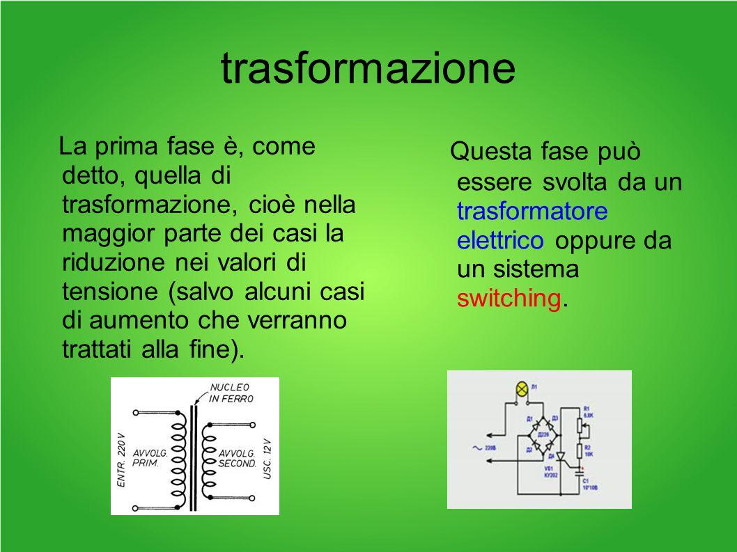 trasformazione La prima fase è, come detto, quella di trasformazione, cioè nella maggior parte dei casi la riduzione nei valori di tensione (salvo alcuni casi di aumento che verranno trattati alla fine).
