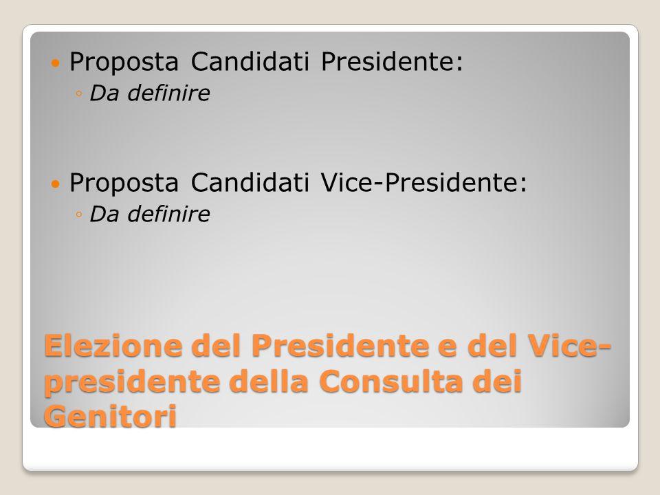 Elezione del Presidente e del Vice- presidente della Consulta dei Genitori Proposta Candidati Presidente: ◦Da definire Proposta Candidati Vice-Presidente: ◦Da definire